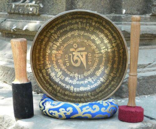 "10"" Large Mantra Etched Tibetan Singing Bowl - Sound therapy, meditation bowls"