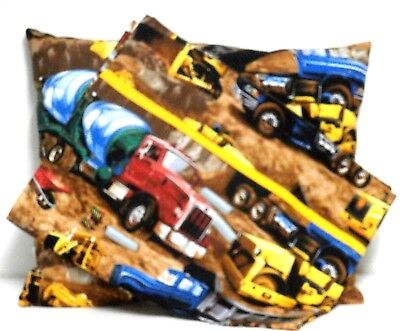 Heavy Equipment Toddler Pillow and Pillowcase Brown Cotton #