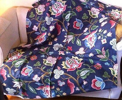 Pindler Meriwether Blueberry ~ 1+ Yard Sample ~ Brand New Navy Jacobean Floral