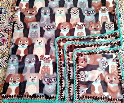 Fleece Blanket w/Crochet Edge  ADORABLE DOGS  60 x 72