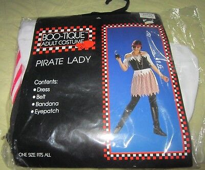 Vintage Pirate Costume (Vintage NWT 1998 Boo-Tique Halloween Pirate Lady Costume One Size Fits)