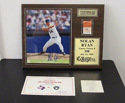 Nolan Ryan AUTOGRAPHED 300th Win Plaque with TICKET STUB & COA- 1000 MADE- LOT B