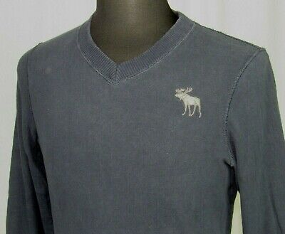Men's Abercrombie & Fitch Navy Blue Moose Long Sleeved T-Shirt Muscle Fit Medium