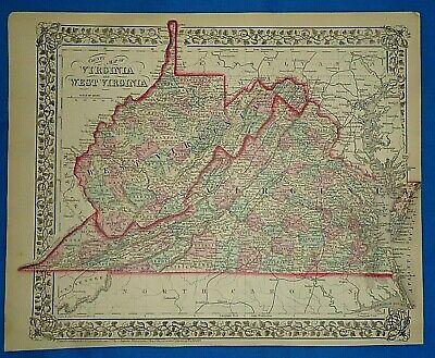 1862 WV MAP Pineville Union Sutton Lima Salem Jane Lew West Virginia History BIG