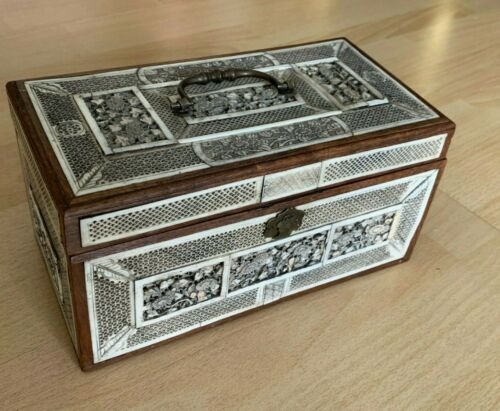 Antique 19th Century Chinese Tea Caddy Box with Inlays