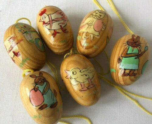 6 Wooden Easter Egg Hand Painted Natural Wood Ornaments