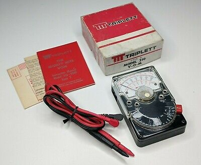 Triplett No. 310 Type 3 Vom Multimeter W Original Box Manual Leads - Voltmeter