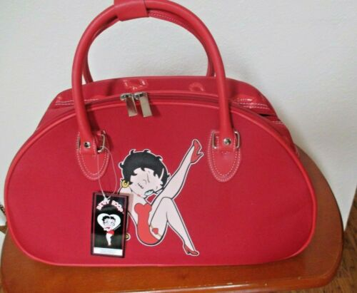 New Valentine Red Canvas Betty Boop Tote Bag Lip Kisses