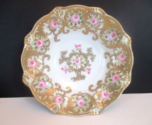 "Antique Hand Painted 10"" Bowl with Pink Roses and Gold Trim"