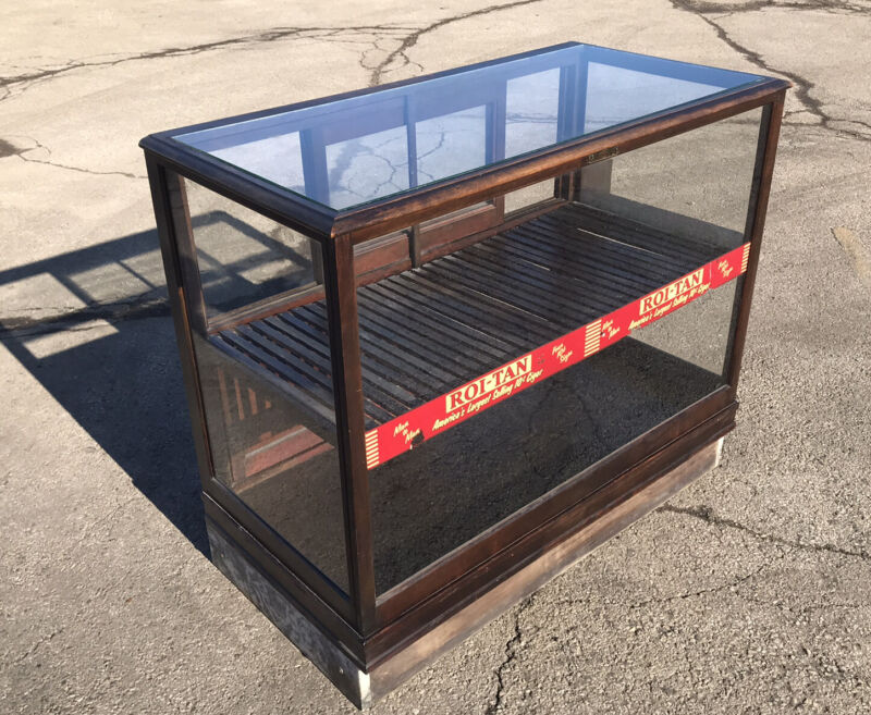 Antique Roi-Tan Cigar Glass Display Cabinet