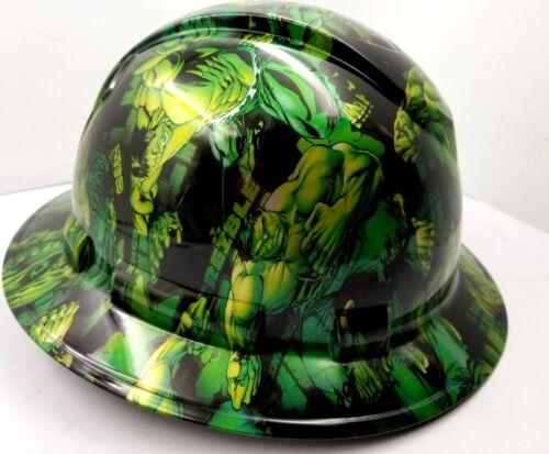Hard Hat FULL BRIM custom hydro dipped , OSHA approved GREEN HULK NEW KILLER 1