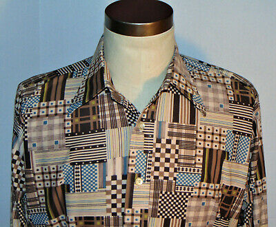 1970s Men's Shirt Styles – Vintage 70s Shirts for Guys VINTAGE 1970's PRINTED PATCH PATTERN POLYESTER BUTTON FRONT SHIRT! LONG SLEEVE L $39.99 AT vintagedancer.com