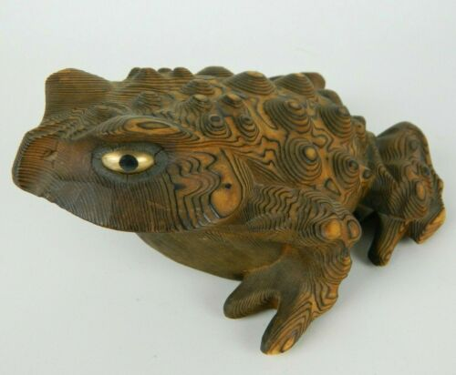 """7"""" Vintage Japanese Cryptomeria Wood Hand-Carved Large Toad Frog Many Warts"""