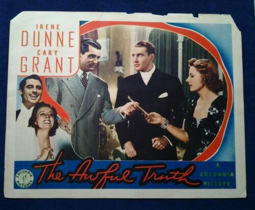 """Original US Columbia Pictures """"The Awful Truth"""" Cary Grant Film Lobby Card"""
