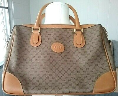 Gucci Micro GG Canvas PVC Tan Leather Medium Tote Doctor Hand Bag Crossbody