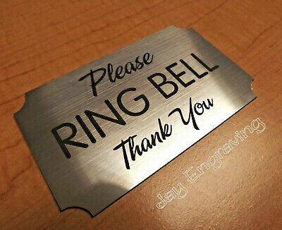 Engraved Please Ring Bell Silver Wall Door Sign Small Business Home Office