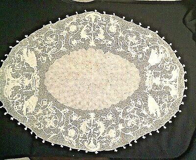 Eccezionalmente fine centrino ovale pizzo di Orvieto 1960 65x48cm. Raro da museo