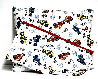 Race Cars Toddler Pillow and Pillowcase set on White Cotton