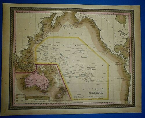 1849 S A Mitchell Universal Atlas Map ~ PACIFIC OCEAN - AUSTRALIA Old Authentic