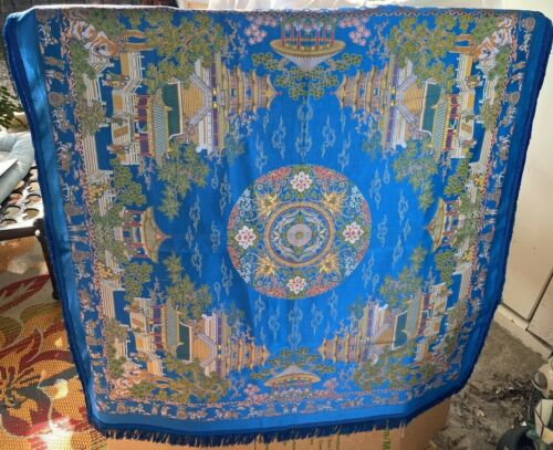 Antique Chinese Blue Silk Embroidery Panel/Table Cover Signed