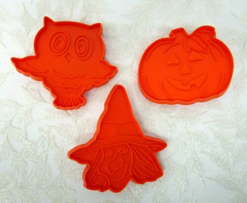 Hallmark Halloween Cookie Cutters Set of 3 Owl Jack O Lantern Witch vintage