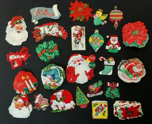 Vintage large lot unused gummed seals stickers Christmas themed Santa 1960
