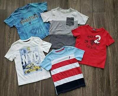 Boys Short Sleeve Shirts - Lot Of 5- Size XS 4 -GapKids Polo Nautica Fission Boy