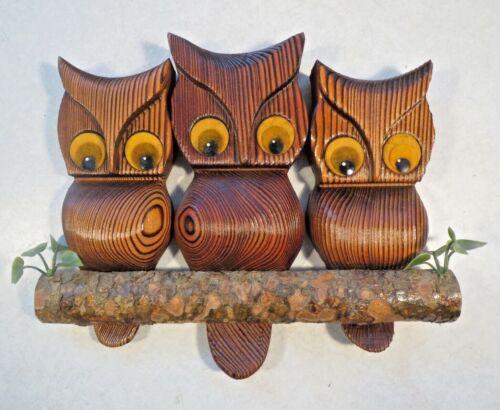 Vintage Witco Owl Cryptomeria Wood Carved Owls Burnt Wood Retro Wall Art vgc