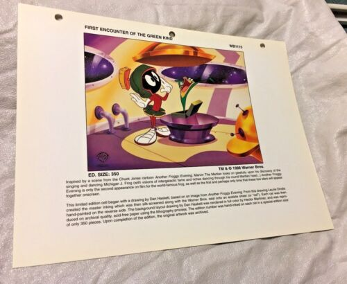 Rare Warner Brothers Marvin The Martian Laminated Cel Promo Binder Page