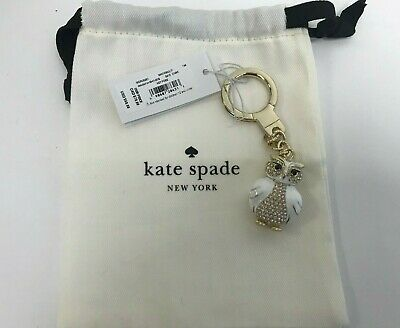 NWT Kate Spade Owl Key Fob w/ Key Chain Ring WORU0267 - White Multi