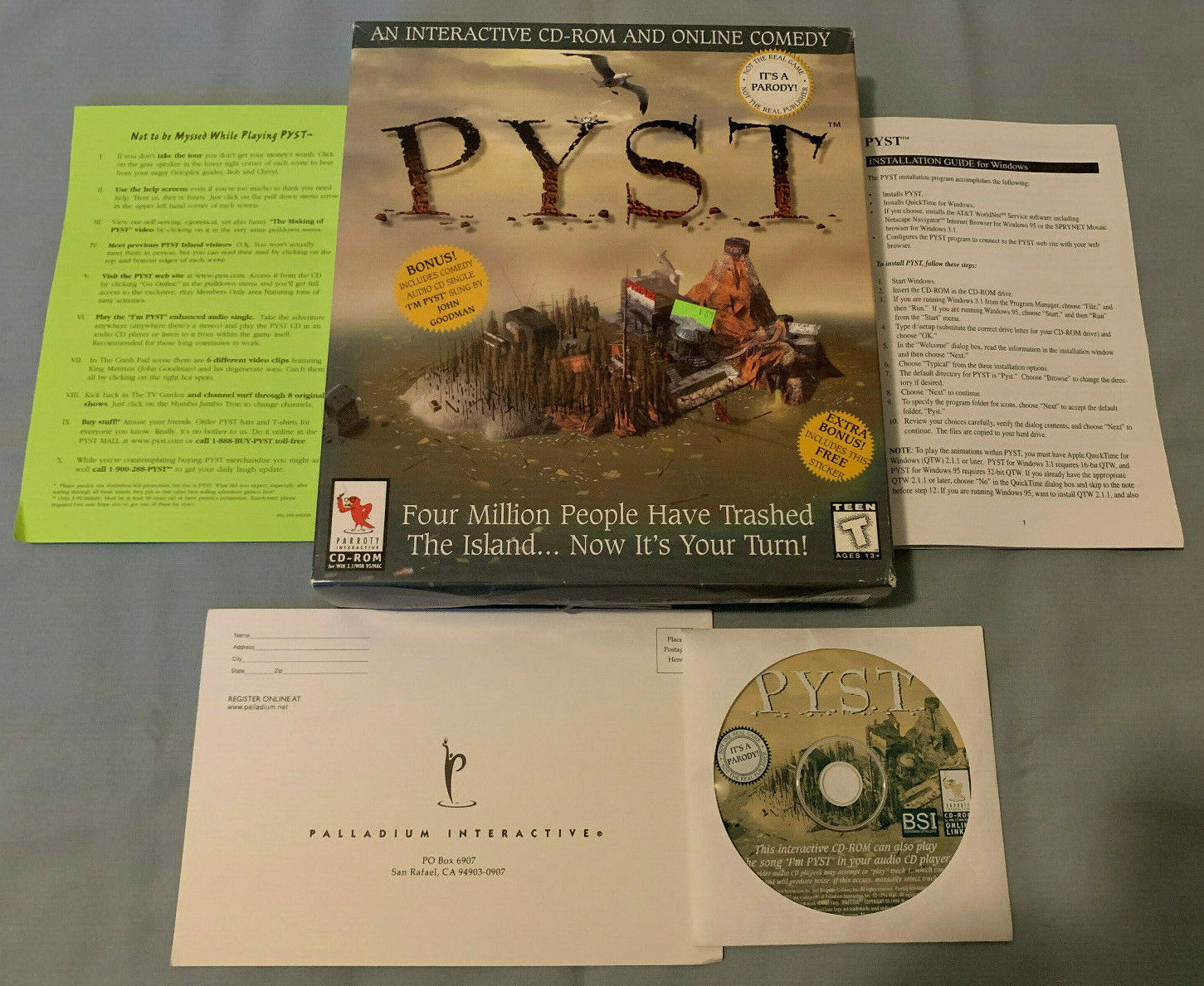 Computer Games - P.Y.S.T. PYST - PC/Mac Computer CD Myst Parody Video Game - COMPLETE in Big Box!