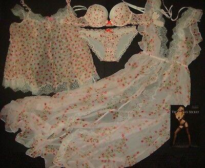 Victoria's Secret 32C Conjunto Sujetador + S Picardías + Bata Blanco Rosa...