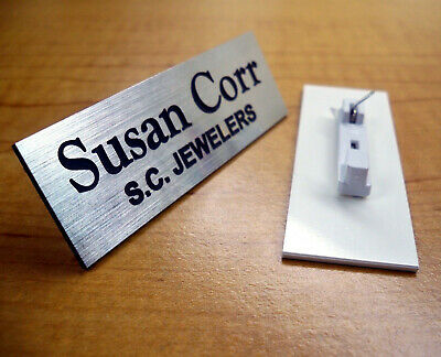 Custom Engraved Silver Name Tag Badge Pin Employee Identification Id Plate