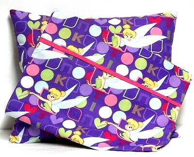 Tinkerbell Toddler Pillow and Pillowcase set on Violet Cotto