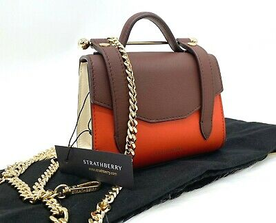 AUTH $445 NWT Strathberry Women's Allegro Tricolor Calf Leather Micro Bag