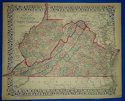 1862 WV MAP Parkersburg St Marys Ravenswood Winfield West Virginia History HUGE