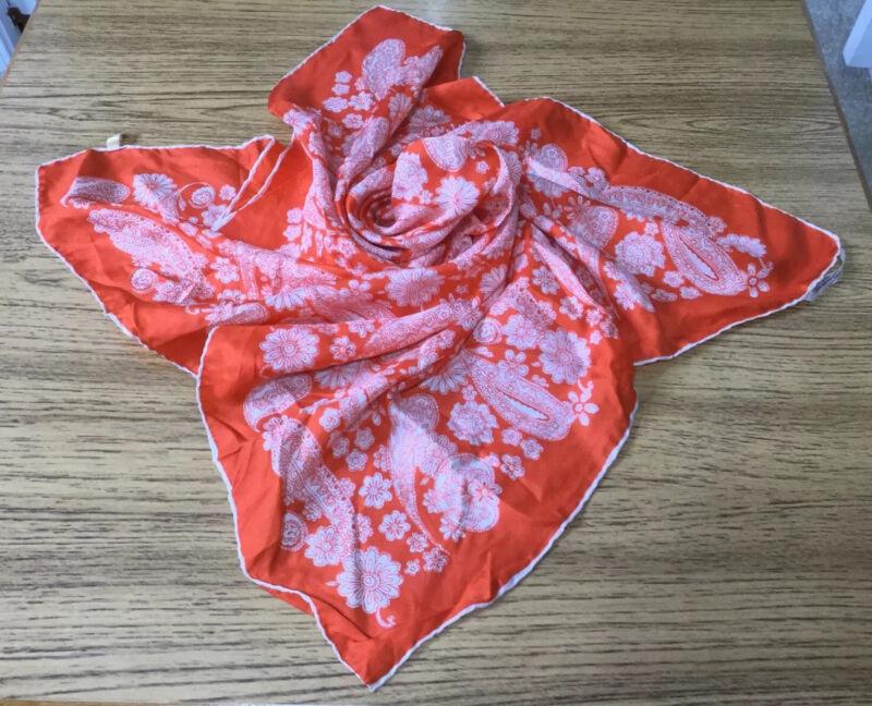 "Vintage Silk Scarf 1970's SAN Gatardo, spain 30"" orange square scarf"