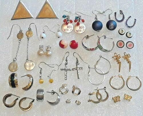 23 pair pierced earrings. rhinestone, pearl bead, enamel, gold tone hoops, TCB +