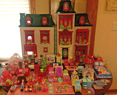 FISHER PRICE XMAS HOME FOR THE HOLIDAY DOLLHOUSE LOT FURNITURE PEOPLE CAR 108pc