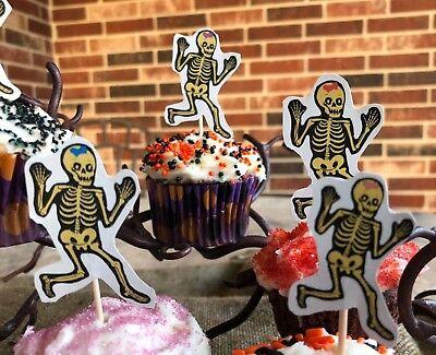 6 Handmade Halloween Cupcake Toppers,Appetizer Picks Girl, Mom Family Skeletons - Handmade Halloween Decorations