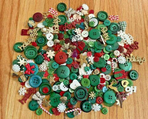 Big Lot Vintage Buttons Christmas Collectible Crafts Scrapbook Supplies Gorgeous