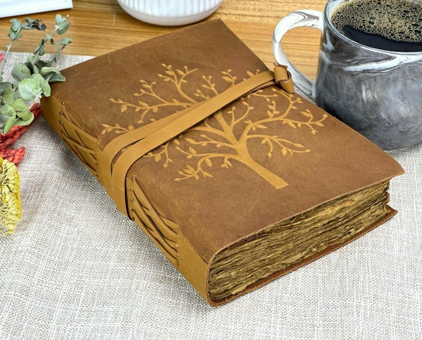 Leather Journal for Women Handmade Leatherbound Writing Note