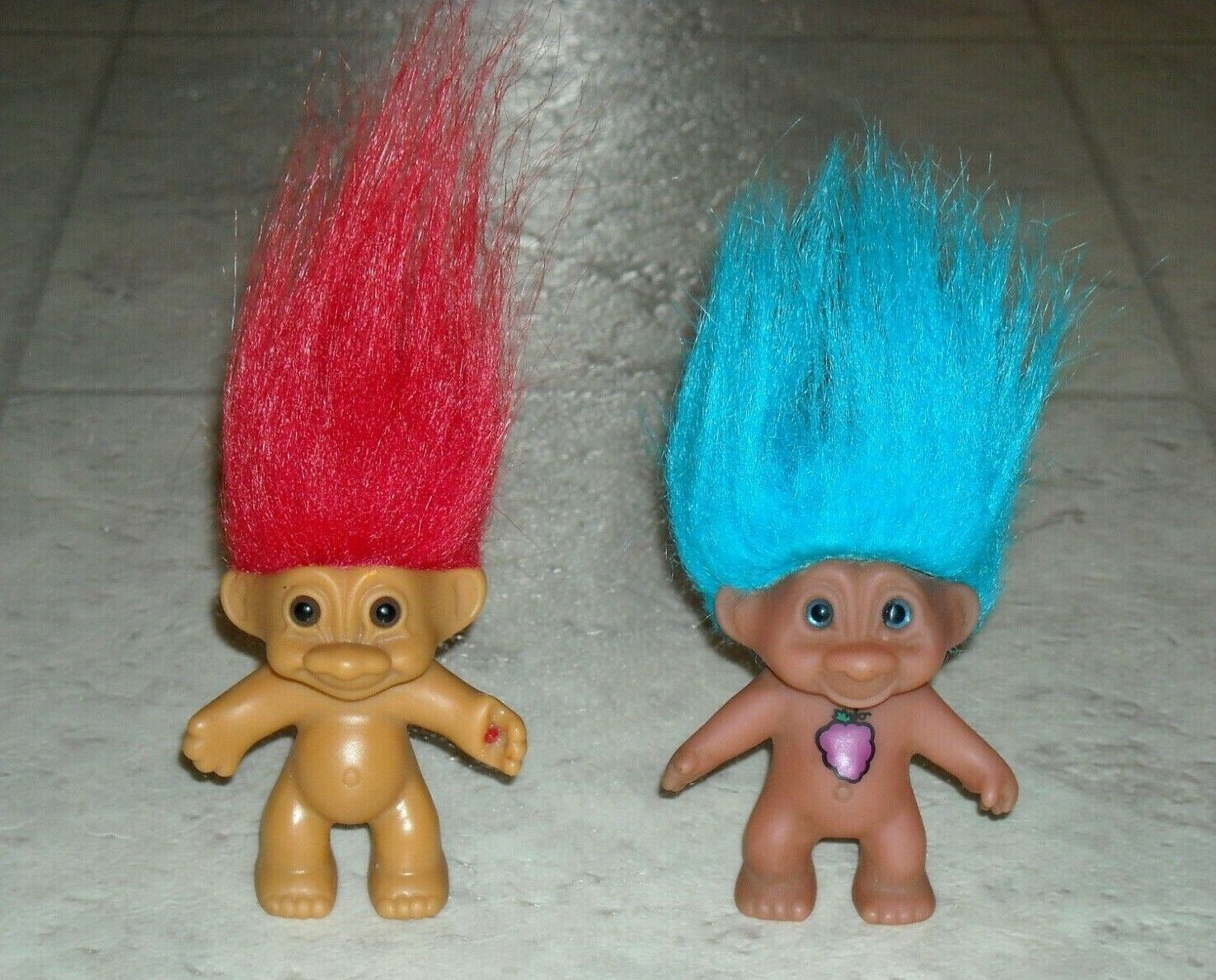 Lot of Vintage Troll Dolls Russ Made in China Red Hair Blue Orange Yellow Mini