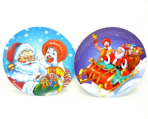 SET OF 2 - Vintage 1997 McDonalds Christmas - Ronald McDonald & Santa Plates