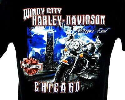 Harley Davidson T Shirt Mens Medium M Windy City Chicago Motorcycle Black 2009  (Windy City Harley)