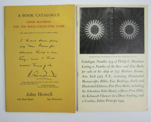 2 Vintage 1960s Book Store Catalogs John Howell of SF & Philip C Duschnes of NY