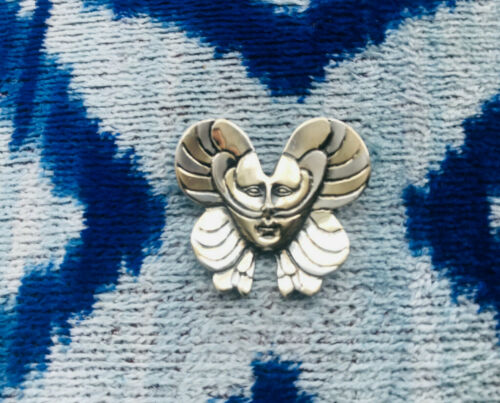 SERGIO BUSTAMANTE signed GA39 sterling 925 Mexico Butterfly Face pin brooch