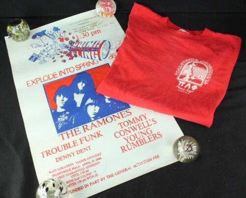 Original Vintage 1986 Ramones Tour Temple University Concert T-Shirt & Poster!