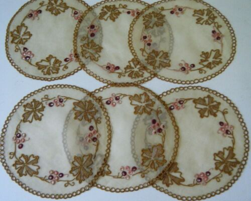 Set 6 old  Organdy exquisitly embroidered  Table doilies  coasters Beverage
