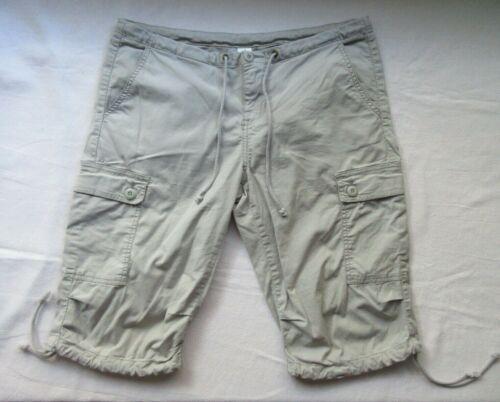 PRANA Stretch Waist-Tie Gray Hiking Climbing Cropped Capri Cargo Shorts -Women 8